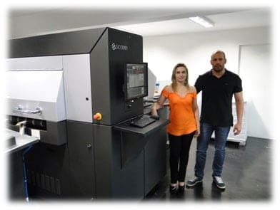 P + E Digital Gallery Partners Eden Ferraz, and Ane Ferraz admire their new Scodix S Series System installed last August